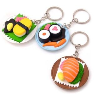 3D Sushi Plate Keychains Realistic Polymer Clay